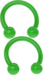 Bling Piercing 2pc Acrylic Horseshoe Circular Barbell 16 Gauge 5/16 Colored Plastic UV Flexible Cartilage Earrings