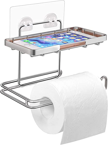 ECROCY Adhesive Toilet Paper Holder With Shelf 304 Stainless Steel No Drilling