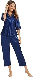 Aiboria Pijama de Satén para Mujer, 2 Piezas Mujeres Seda Tops de Mangas 3/4 Largas con Volante y Pantalones Largos Ropa D...