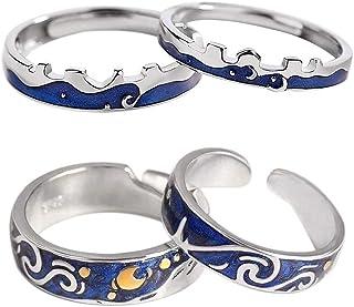 2 pares de anillos de plata de ley S925, diseño de Van Gogh, hecho a mano, único, azul abierto, anillo de promesa, tamaño ...
