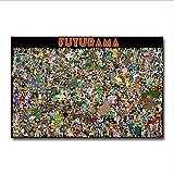 yhnjikl Seda del Arte o impresión de la Lona Futurama Cartoon Anime Movie Poster para la decoración de la habitación decoración 40X60Cm Sin Marco