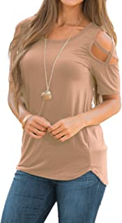 d01a26089a92b8 Adreamly Womens Loose Strappy Cold Shoulder Tops Basic T Shirts