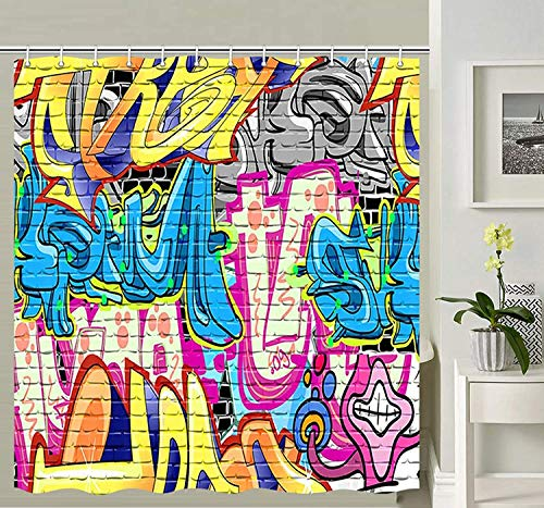 XCBN Cortina de Ducha de Graffiti de Calle Creativa, Cortina de Ducha de Estilo Rural con Estampado de Graffiti Hip Hop, Cortina de Ducha artística Impermeable A1 150x200cm