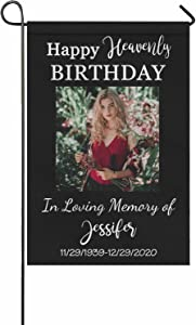 Custom Garden Flag, Personalized In Loving Memory Photo Flag Happy Heavenly Birthday Yard House Flag Loss of Pet Dog Mom Dad for Outdoor Porch Patio Farmhouse Lawn Decor 12x18 Twin Sides Printed