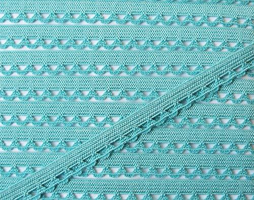 Großhandel für Schneiderbedarf 3 m Wäschespitze elastisch 9 mm grün türkis/Aqua 1,66 €/m