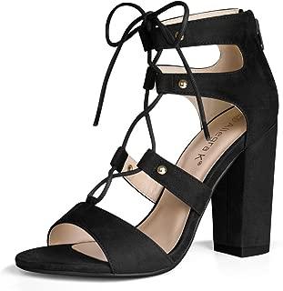 Allegra K Women Open Toe Lace Up Block Heel Gladiator Sandals