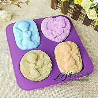 Perfect Pricee 1 Pc Silicone 4-Cavity Different Baby Angels Cake Mould Chocolate Soap Mould Baking Mould Soap Making Candl...