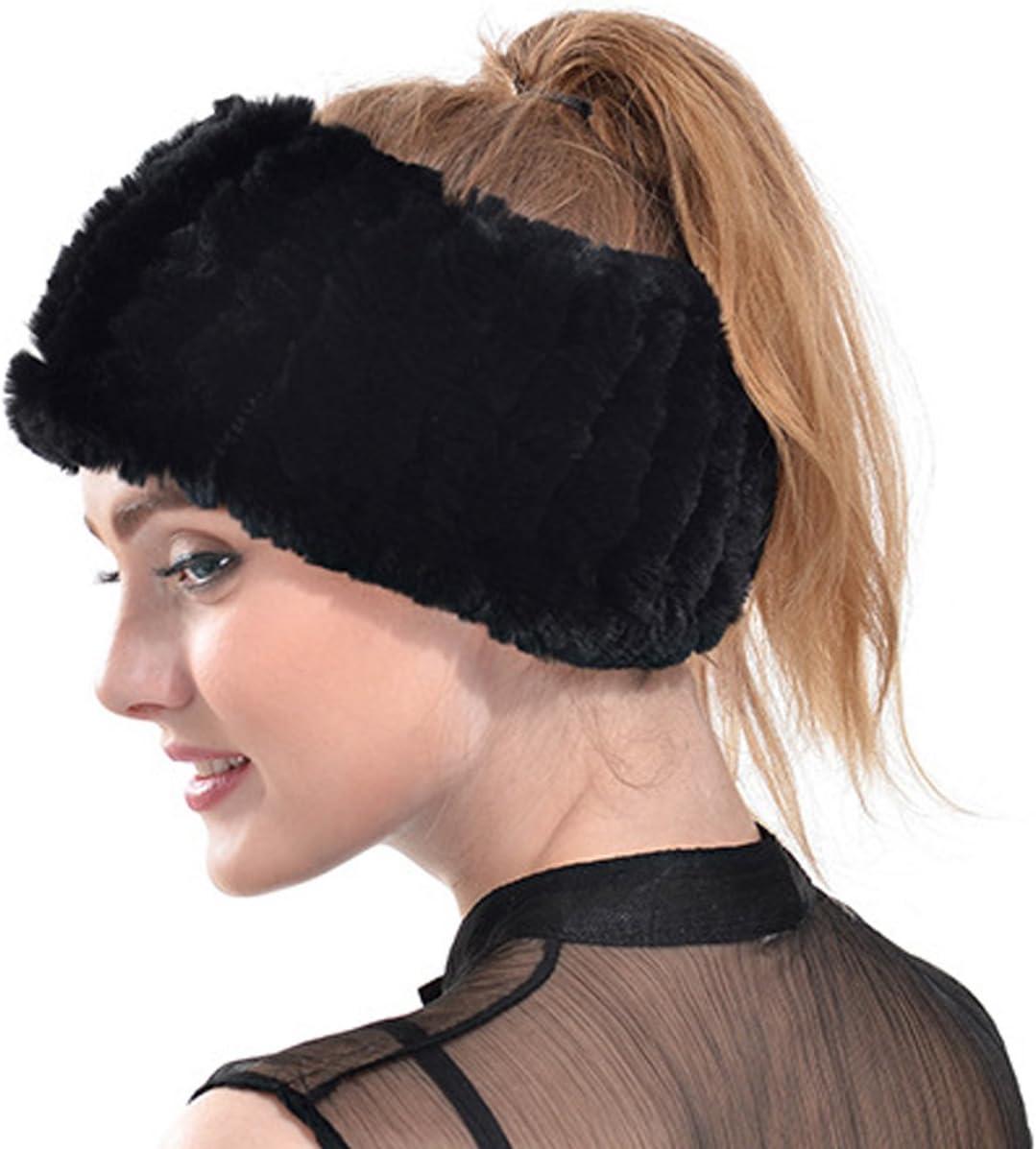 Black Rabbit Fur Neck Warmer,Patedan Elastic Winter Knit Hat Headband Scarf Muffler