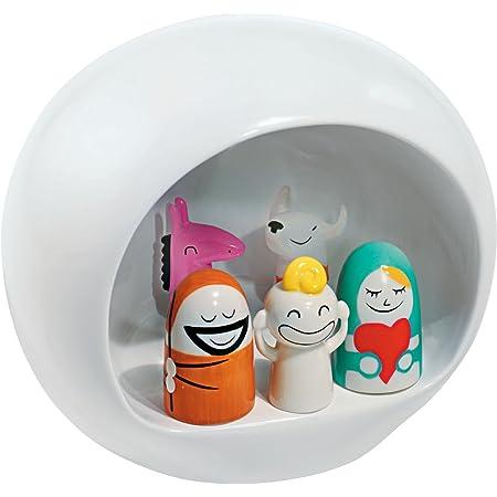 Alessi AMGI10 Crèche Design en Porcelain Decorè à La Main avec Reproduction de la Grotte et Set de Figurines, Blanc, 5 Pièces