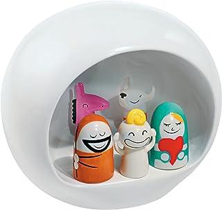 Alessi AMGI10 Pesebre de Diseño en Porcelana Decorada a Mano con Figuras de la Sagrada Familia, Blanco, 5 Piezas