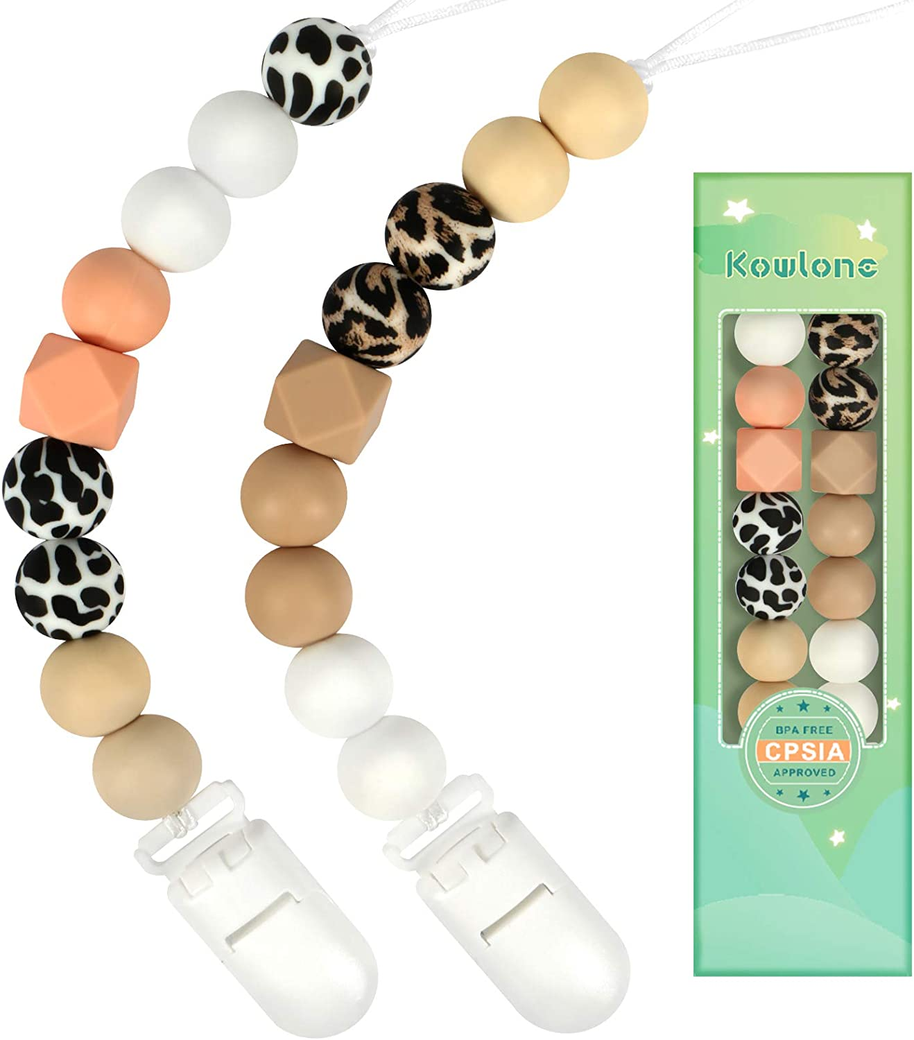 Dummy Clips Boys Girls Soother Pacifier Chain Holder Clips Leopard Cow Print Silicone Teething Beads Binky Holder Set for Baby Unisex Newborn Dummies BPA Free