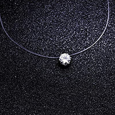 Yinew Zircon Choker Invisible Fishing Line Necklace Unique Fashion Jewellery Zircon Pendant Necklace by Yinew