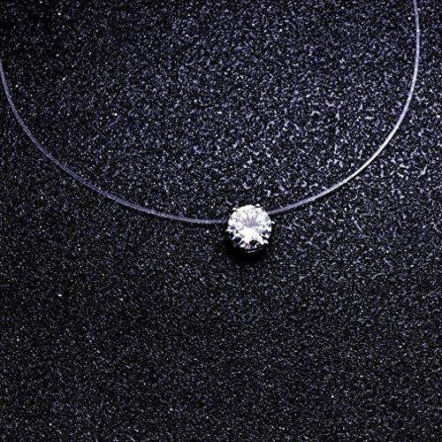 Yinew Zircon Choker Invisible Fishing Line Necklace Unique Fashion Jewellery Zircon Pendant Necklace