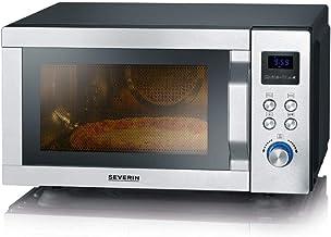 SEVERIN 4-in-1 Mikrowelle mit Doppelgrill, Minibackofen mit Pizza-Express Funktion, Mikrowelle mit Grill und Heißluftfunktion bis zu 230 °C, Edelstahl / schwarz-matt, MW 7759