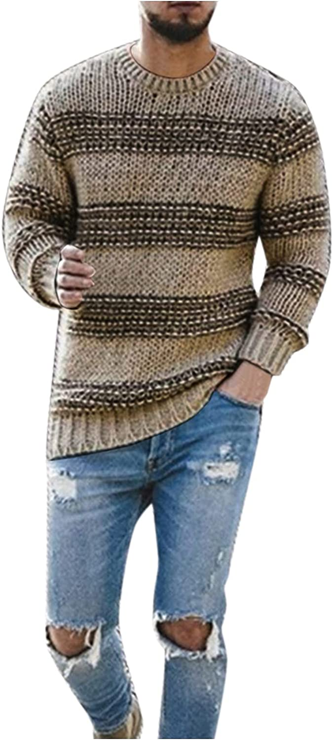 Huangse Mens Casual Striped Sweaters Autumn Long Sleeve Slim Fit Crewneck Knitted Pullover Ribbed Cuff Hem Sweaters