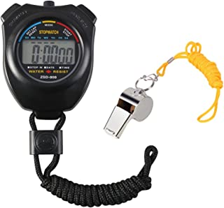 Vicloon Digital Cronómetro con Silbato de Acero Inoxidable - LCD Deporte Cronómetro para Fútbol,Baloncesto,Correr,Natación...