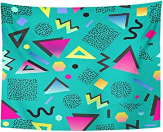 Emvency Tapestry Polyester Fabric Print Home Decor Colorful 1980S Retro Vintage 80S 90S Style Abstract Good Design and Green 1990S Wall Hanging Tapestry for Living Room Bedroom Dorm 60x80 Inches