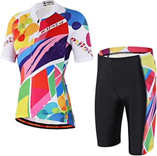 Vgowater Women's Cycling Jersey Set Short Sleeve Road Bike Shirt Quick Dry Biking Shorts
