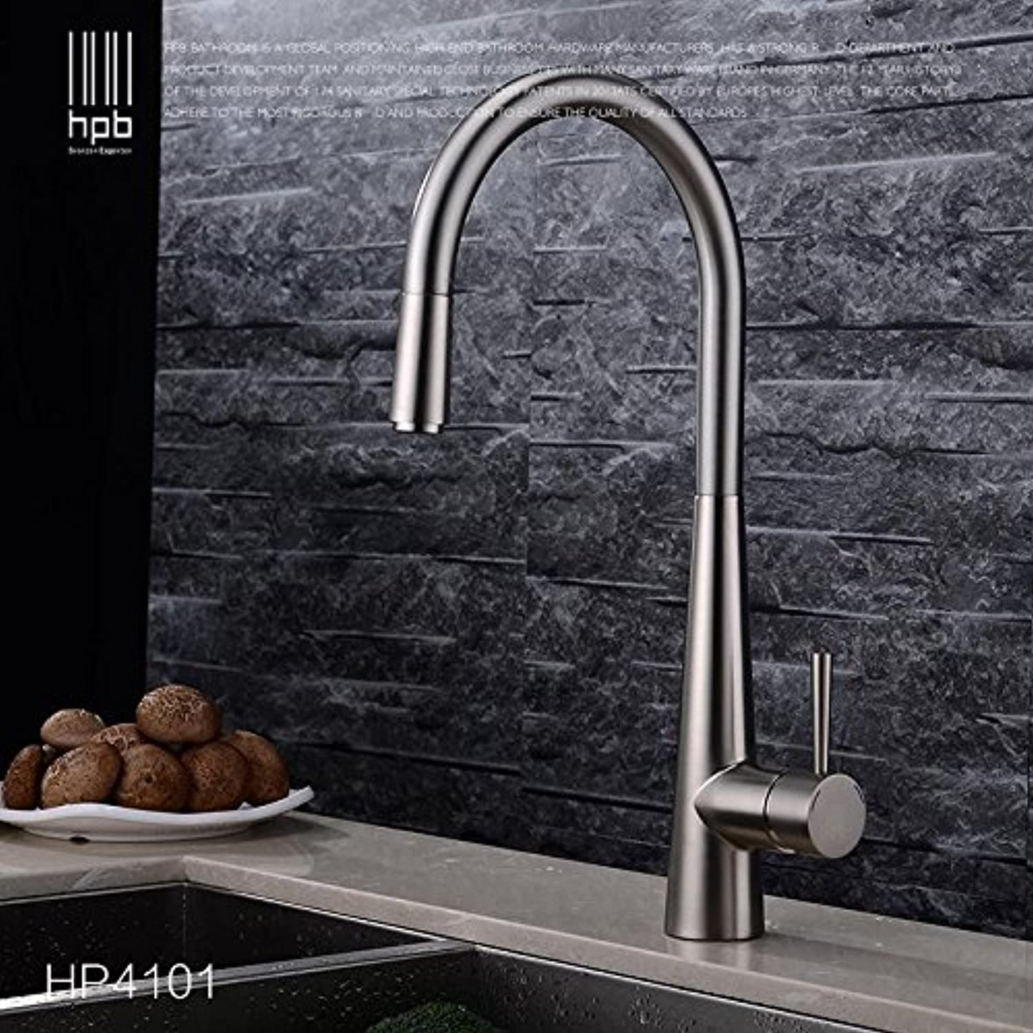 Tw All copper hot and cold single hole pull drawing kitchen faucet   kitchen sink redary taps