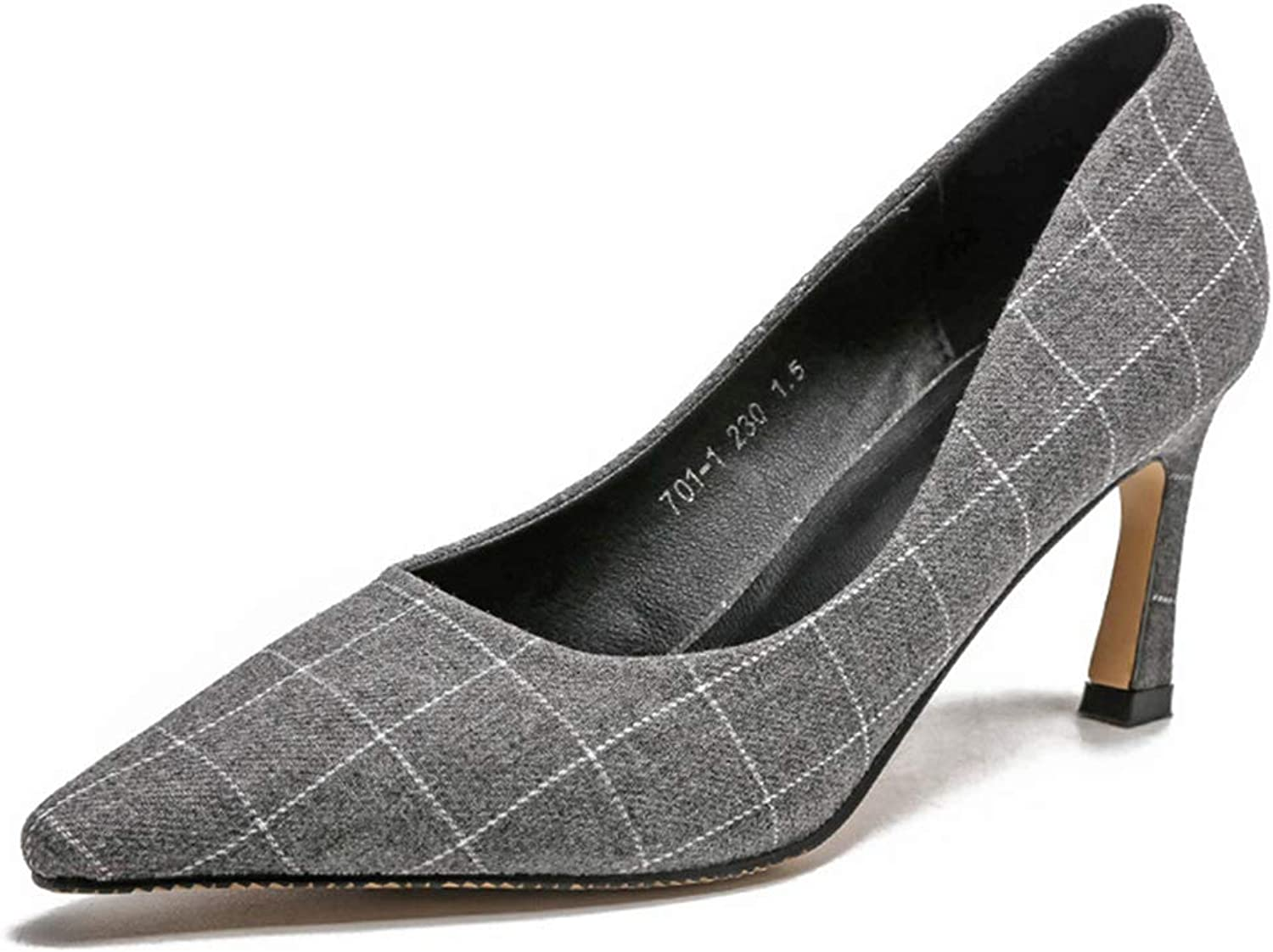 Sam Carle Womens Pumps,Pointed Toe High Heel Slip On Comfortable Casual Black Grey Spring Pumps