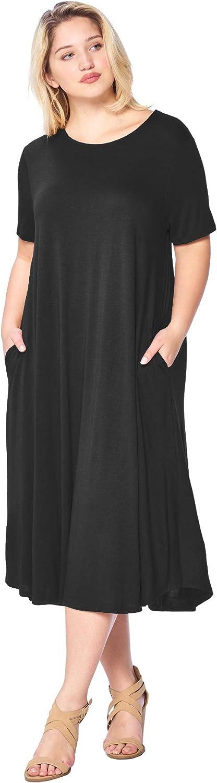 Modern Kiwi Women's Plus Size Short Sleeve Flowy A-Line Pocket Midi Maxi Dress (1X-5X) Made in USA