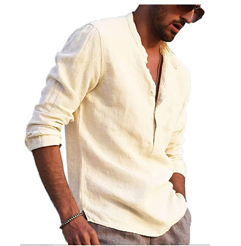 Mens Linen Henley Shirt Causual Long Sleeve Cotton T-Shirt Button Down Shirts Casual Banded Collar Henley Shirt (Large,Apricot)