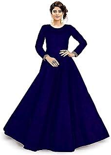 unique choice fab Anarkali Type Semi Stitched Taffeta Silk Salwar Suit For Women (Blue)