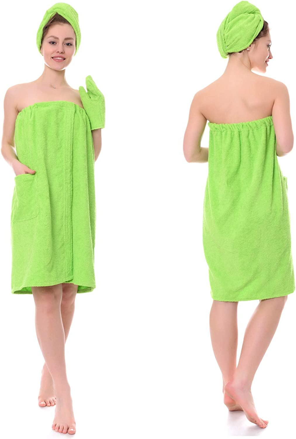 Sauna and Spa Set for Classic Women Max 86% OFF Wrap Cloth Terry with Ha Green Towel