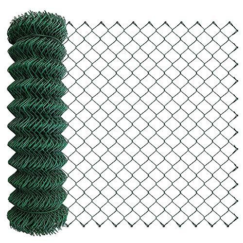 Amagabeli 1M X 25M Rollo Malla Cerca de Alambre Enrejado Cuadrada Verde Grosor de Alambre 2.4 mm Malla de Alambre Rombo 50 x 50 mm Malla de Alambre Recubierta de Plástico Valla de Tela Metálica HC03
