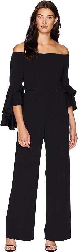 Statement Sleeve Stretch Crepe Jumpsuit