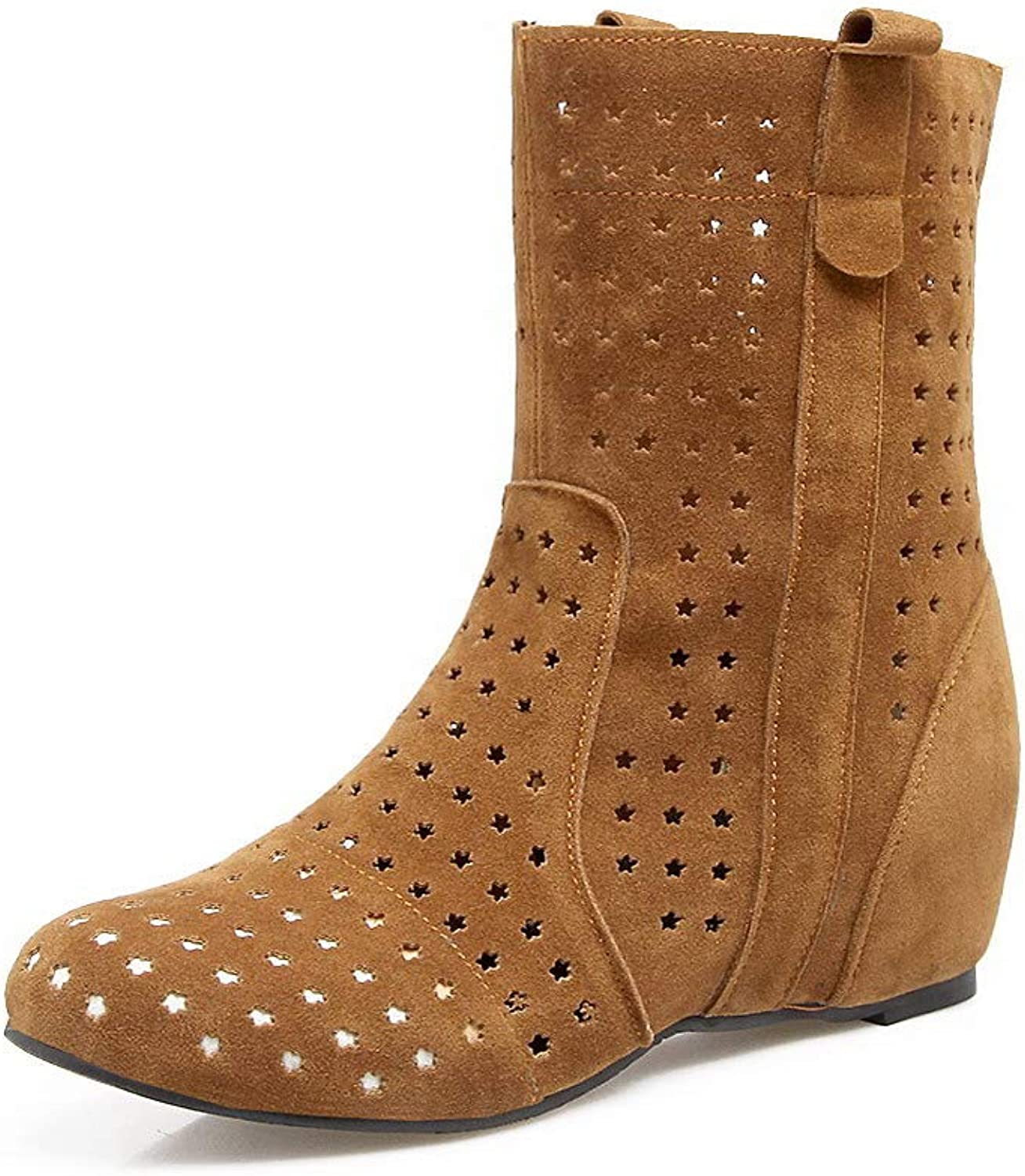 WeiPoot Women's Solid Kitten-Heels Round-Toe Frosted Pull-On Boots, EGHXH014358