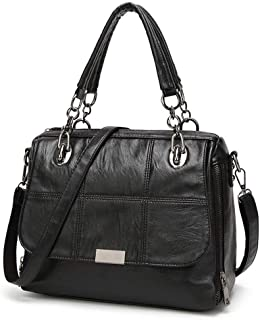 Fine Bag/Retro Ladies Shoulder Bag Fashion Wild Handbag Large Capacity Ladies Crossbody Bag Work Shopping (Color : Black, Size : 30 * 13 * 24cm)