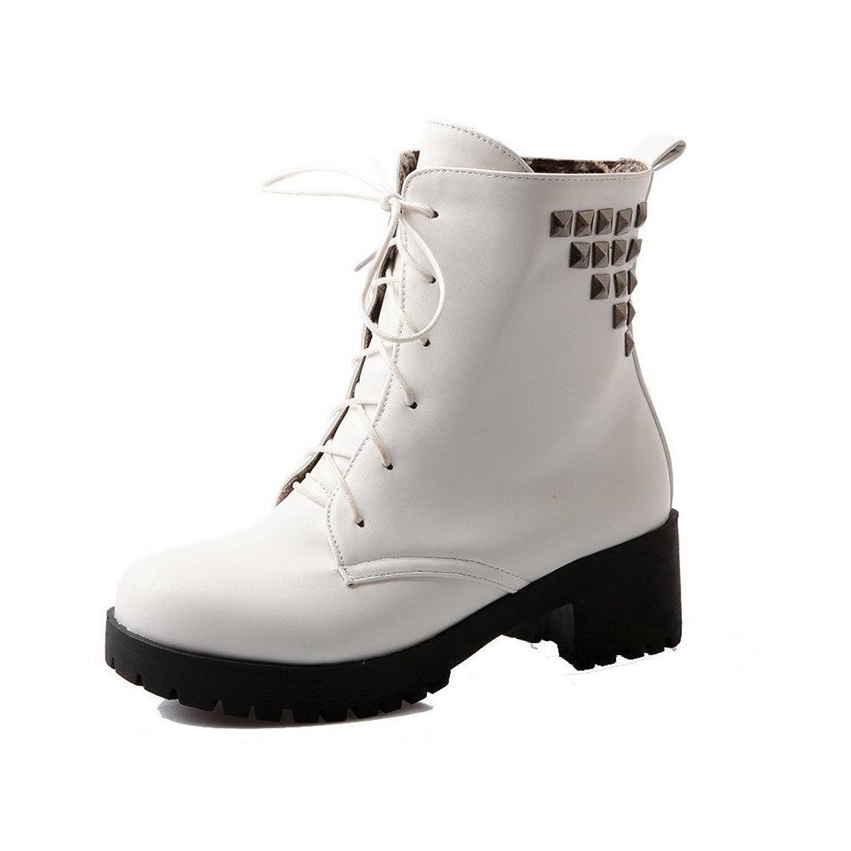 抗議ピストルトランペット(オールエイチキューファッション) AllhqFashion レディース ラウンドトゥ 中ヒール PUの皮 レースアップ ブーツ 25.5cm ホワイト