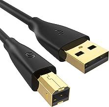 Syncwire Câble Imprimante USB 2M USB 2.0 Câble Scanner d'Imprimante USB A vers USB B Mâle à Mâle Câble Printer pour HP, Canon, Dell, Lexmark, Epson, Xerox, Samsung et Autres – Noir