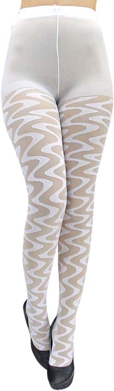 White Sheer Wave Pattern Hosiery Tights