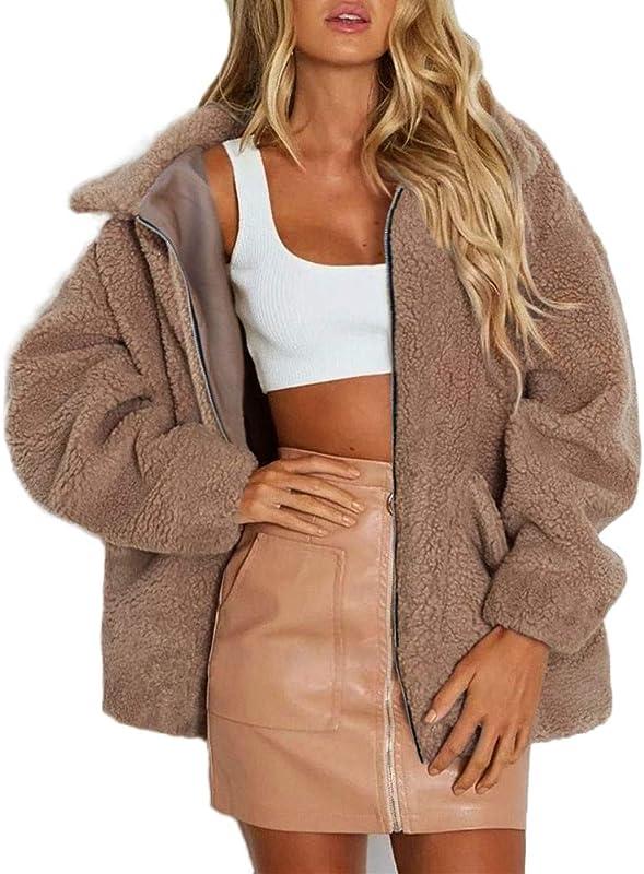 Dacawin Women S Winter Warm Lapel Long Sleeve Faux Shearling Coat With Pocke
