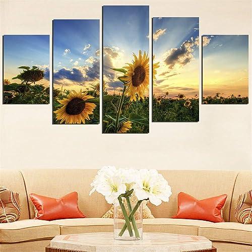 XYDYHZH RahHommeslose Leinwand Malerei SunfFaibleer Landschaft Bild Einstellung Sun Landschaft Moderne Wandbilder Für Dekoration Modulare 5 Stücke,40X60Cmx2Pcs,40X80Cmx2Pcs,40X100Cmx1Pcs