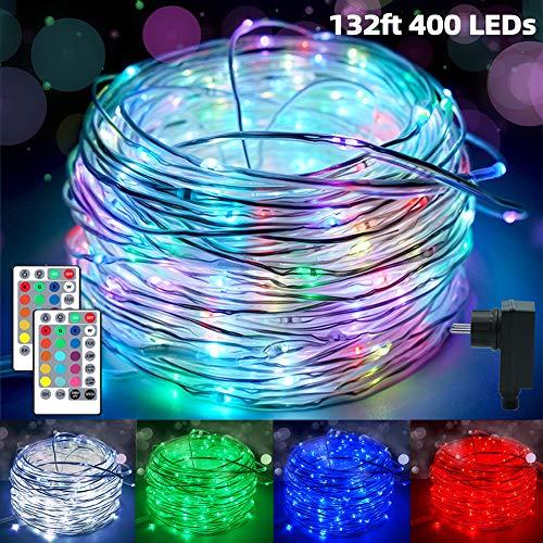 400er LED Schlauch RGB Außen, 40M Lichtschlauch Lichterkette Strom,IP68 Wasserdicht Lichterschlauch,16 Farben 4 Modi Fairy Light mit Fernbedienung für Weihnachten Party Balkon Hochzeit Geburtstag Deko