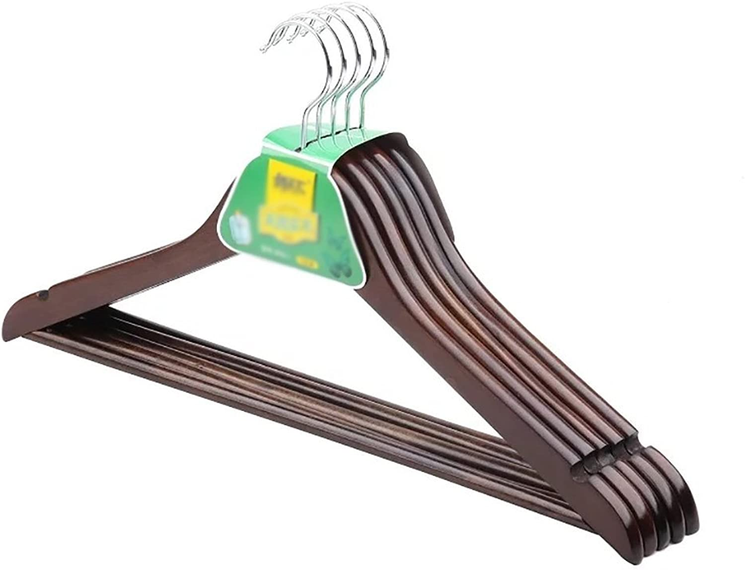 ZYL (10 Pieces) Wooden Hanger, Multifunctional High-Grade Solid Wood Suit Hanger with Non-Slip Grooves Classic Hangers (color   Brown, Size   44.5  25.5cm)