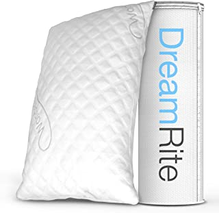 DreamRite Shredded Hypoallergenic Memory Foam Pillow WonderSleep Series Luxury Adjustable Loft Home Pillow Hotel Collection Grade Washable Removable Cooling Bamboo Derived Rayon Cover- Queen 1 Pack