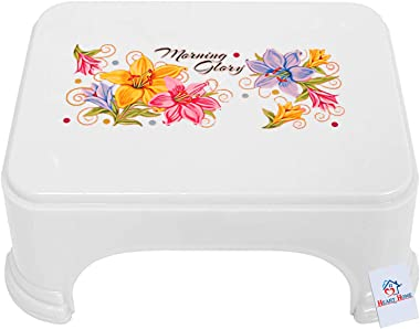 Heart Home Floral Print 2 Pieces Plastic Bathroom Stool, Adults Simple Style Stool Anti-Slip with Strong Bearing Stool for Ho