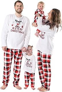 BOBORA🎁 Merry Christmas Holiday Family Matching Pajamas Reindeer Classic Plaid Pajama PJ Sets