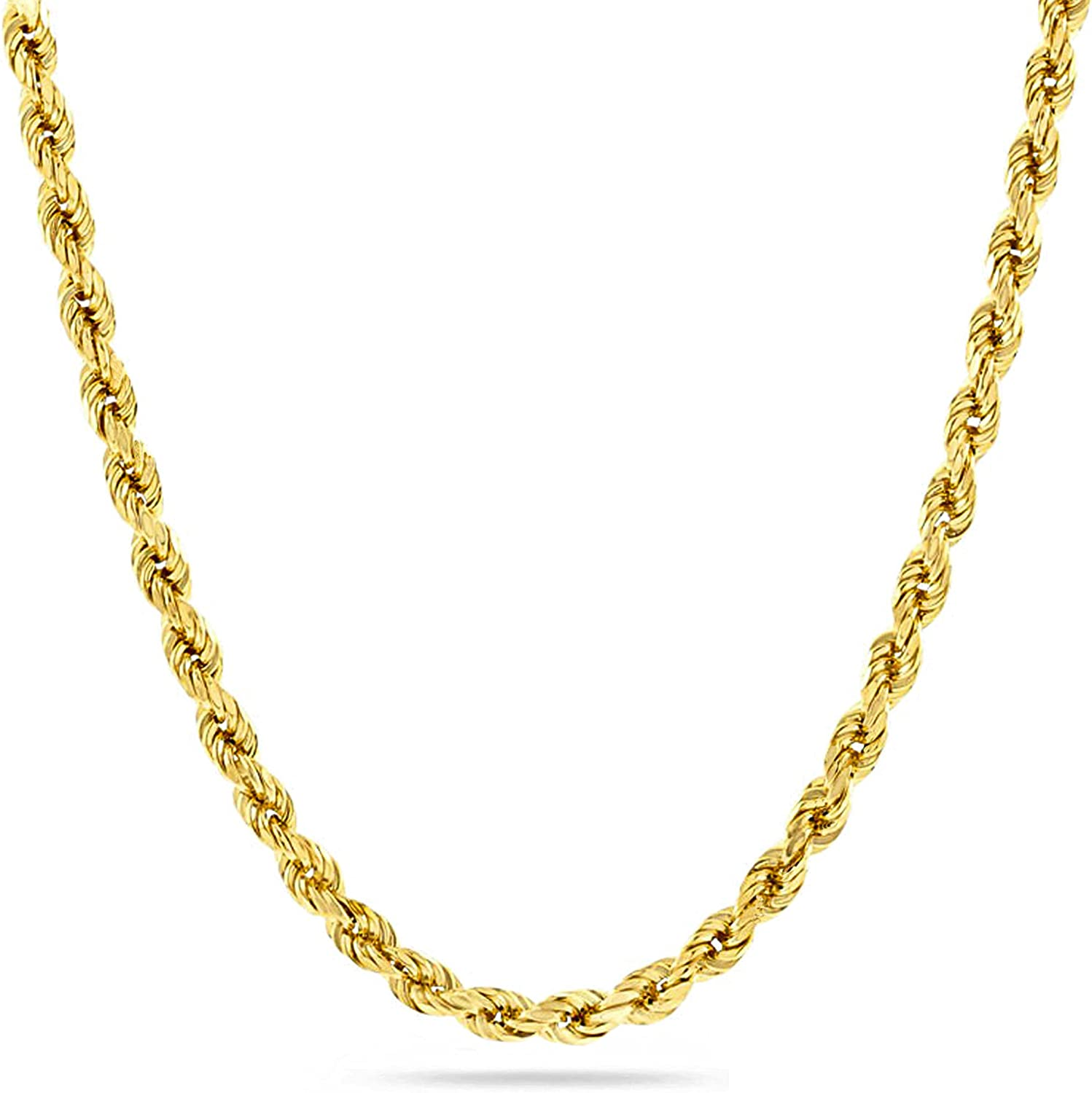 Abaya Jewelers Unisex Diamond Cut Twist Rope Rope Chain Necklace   14k Over Stainless Steel   Solid Feel