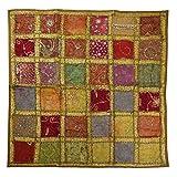 Oriental Galerie Tischedecke Wandbehang Decke Überwurf Patchwork Indien Sari Stoff 100 x 100 cm Khaki
