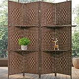 Room Divider 4 Panels Wood Frame Foldable Portable Separator Screen Folding Wall...