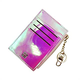 Aimeio Holographic Slim Minimalist Card Case Holder Small Front Pocket Wallet Coin Change Purse with Ker Ring for Women Girls