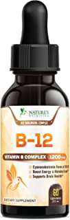 B12 Vitamin Sublingual Drops for Weight Loss 1200mcg - B12 Complex Designed to Boost Energy Levels & Metabolism, Enhance Mood, Sharpen Focus, Fast Absorption Liquid - Gluten Free & Non-GMO - 2 oz