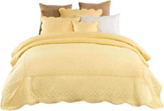 Tache 2 Piece Quilted Yellow Buttercup Puffs Matelasse Bedspread Set, Twin