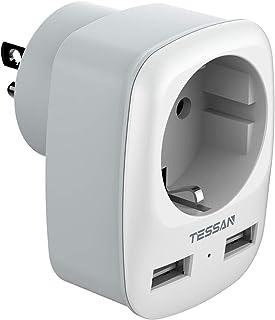 TESSAN Reiseadapter USA Adapter Amerika Deutschland Stecker mit 2 USB 2.4A, Steckdosenadapter Reisestecker Stromadapter fü...