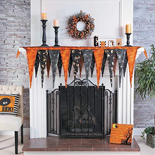 Halloween Fireplace Mantel Scarf (Over 6 feet Long) Halloween Home Decor Black, Orange
